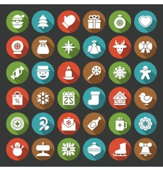 Christmas icons set Christmas decorations objects vector image