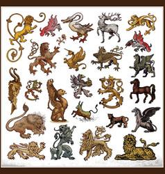 heraldic beast collection vector image vector image