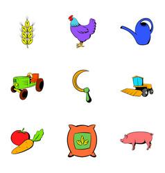 homestead icons set cartoon style vector image
