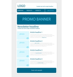Newsletter blue template with business style vector image vector image