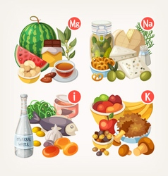 Products rich with vitamins and minerals vector image vector image