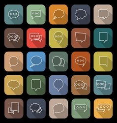 Speech Bubble line flat icons with long shadow vector image
