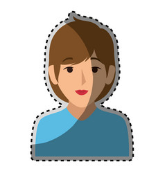 Sticker colorful half body woman with short brown vector