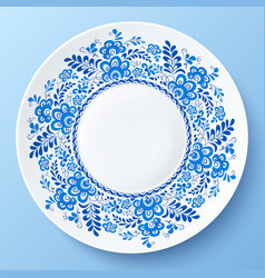Blue plate with floral ornament in gzhel style vector image
