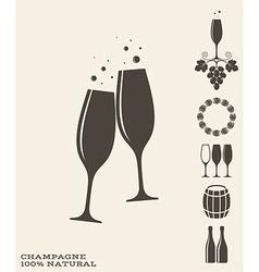 Champagne icon set vector