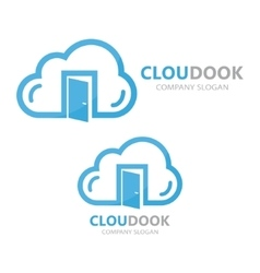 cloud and door logo concept vector image