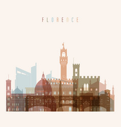 florence skyline detailed silhouette vector image vector image