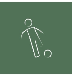 Soccer player with ball icon drawn in chalk vector image vector image