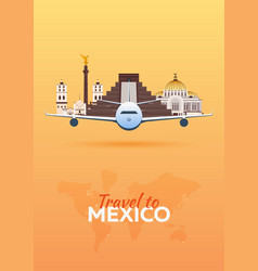 travel to mexico airplane with attractions vector image