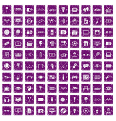 100 video icons set grunge purple vector image