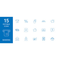15 banking icons vector