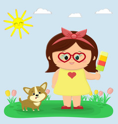 a nice girl in a yellow dress and glasses is vector image