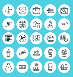 Airport icons set collection of siren shopping vector