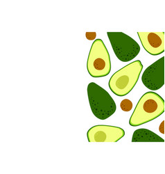 Avocado minimal food background with cute vector