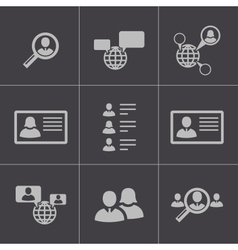 black people search icons set vector image