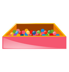 Box full of colorful balls vector