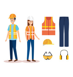 builders constructors couple with equipment vector image