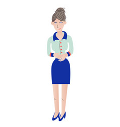 Business woman standing with hands clasped flat vector