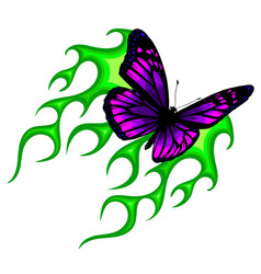 butterfly fiery background for design vector image