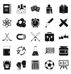 campus icons set simple style vector image