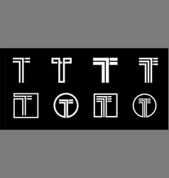 Capital letter t modern set for monograms logos vector