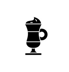 cappuccino black icon sign on isolated vector image
