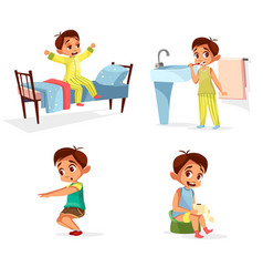 Cartoon boy daily morning routine activity vector