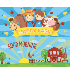 cartoon farm banners rural landscape with wooden vector image