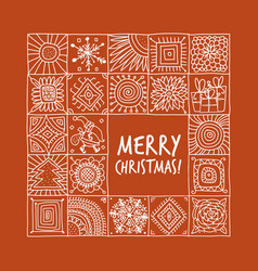 Christmas card with geometric ornament for your vector
