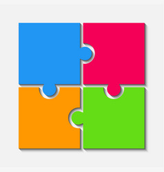 Color puzzle pieces jigsaw four steps infographic vector
