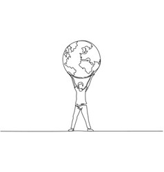 continuous one line drawing man holding globe vector image