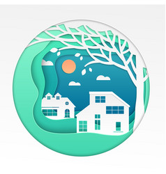 country house - modern paper cut vector image
