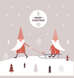 cute christmas gnomes in red hats sledding vector image