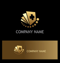 Document hospital gold logo vector