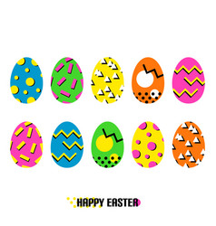 easter eggs in memphis style vector image