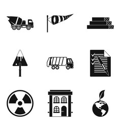 eco building icons set simple style vector image