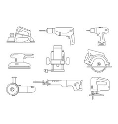 electric tools line icons vector image