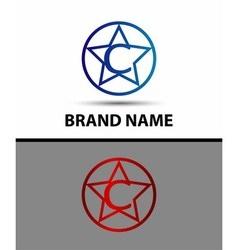 Elegant alphabet star element Letter c vector