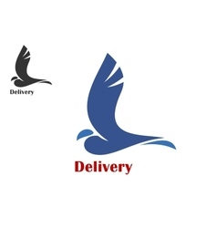 Fast delivery symbol with flying bird vector image