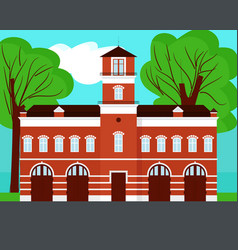 Fire station cartoon on landscape vector