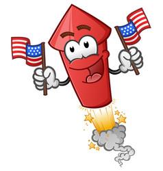 Firework holding american flags cartoon character vector