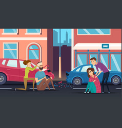 First aid road accident personal helping person vector