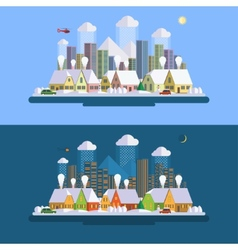 Flat design winter urban landscape vector image