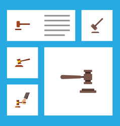 Flat icon hammer set of crime defense legal and vector