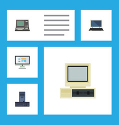 Flat icon laptop set of display notebook vector