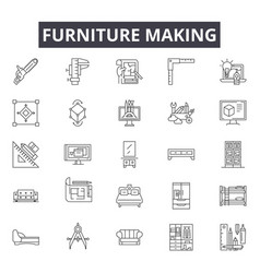 furniture making line icons for web and mobile vector image