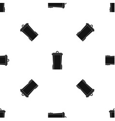 Garbage bin pattern seamless black vector