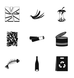 Garbage icons set simple style vector