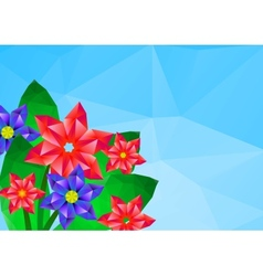geometrical polygonal hipster flower card vector image