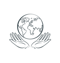 globe in hands logo earth day nature protection vector image